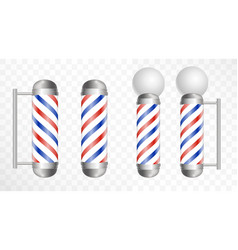 realistic barber pole glass barber shop poles vector image