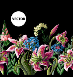 Seamless border with lilies and wild flowers vector