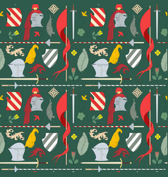 Seamless medieval pattern with things for knightly vector