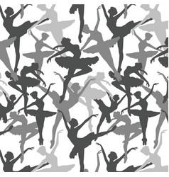Seamless pattern of dancing ballerinas silhoette vector