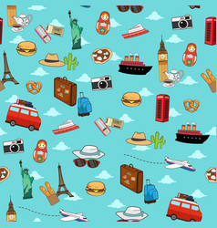 Seamless vacation travel pattern wallpaper vector