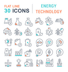 set line icons energy technology vector image