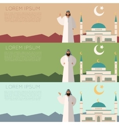 set muslim mosque banner2 vector image
