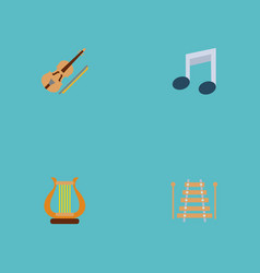 Set of audio icons flat style symbols with musical vector