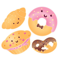 Set of cute sweets croissant donut pretzel vector