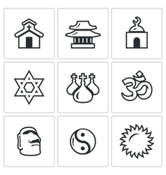 Set of Religion Icons Catholic Buddhism vector image
