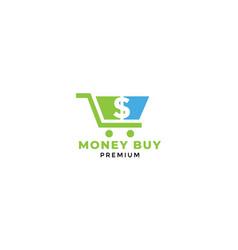 Shopping cart trolley money dollar logo design vector