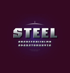 Silver colored and metal chrome sanserif font vector