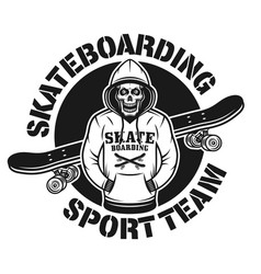 skull in hoodie and skateboard emblem vector image