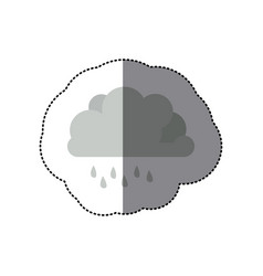 Sticker shading monochrome cumulus cloud with vector