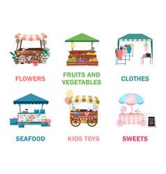 Street market stalls flat set fair funfair trade vector