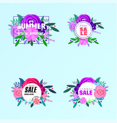 summer sale banners decorate with flowers and vector image