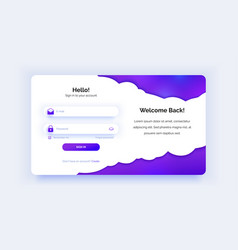 The login page purple gradient sign in form vector