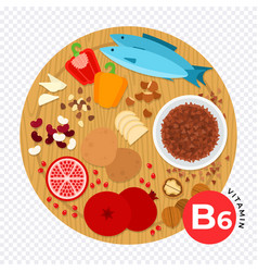 Vitamin b6 flat style diet vector