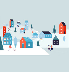 winter urban landscape christmas vacations vector image