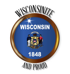 Wisconsin proud flag button vector
