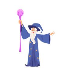 wizard or magician creates magic flat vector image