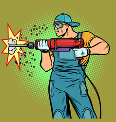 working hammer drills wall vector image