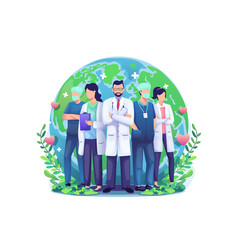 World health day concept with a group staff vector