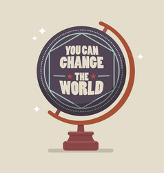 You can change the world lettering on globe model vector
