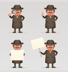 cute detective spy investigation coat magnifying vector image