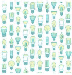 Different lamp or light bulbs line background vector