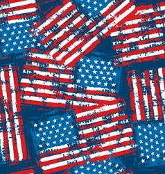 Distressed grunge American flag seamless pattern vector image