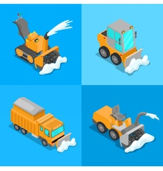 Isometric Snow Removal Transportation Set vector image vector image