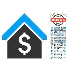 Loan mortgage icon with 2017 year bonus pictograms vector