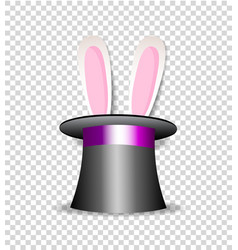 rabbit ears appear from magician hat isolated vector image