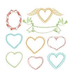 Doodle hand drawn heart shape frames and floral vector image vector image