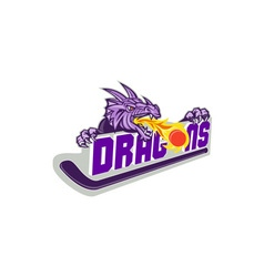 Dragon Fire Puck Hockey Stick Retro vector image