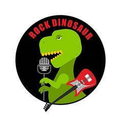 Emblem of rock dinosaur Logo for old fans of rock vector image vector image