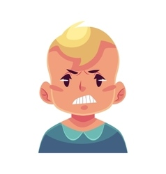 Little boy face angry facial expression vector image