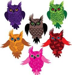 Owl bird set icon vector image vector image