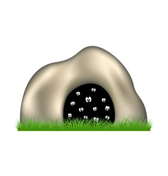 eyes in the dark cave and green grass vector image