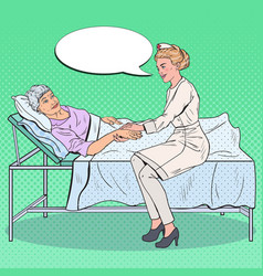 pop art nurse holding hand of senior woman vector image vector image