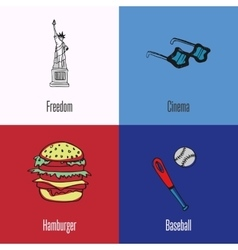 American National Symbols Icons Set vector image