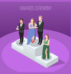 Awards ceremony isometric composition vector
