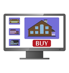 Computer monitor with realty selling web site vector image
