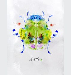 monotype colorful beetle vector image vector image