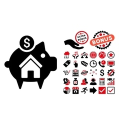 Realty Piggy Bank Flat Icon with Bonus vector image