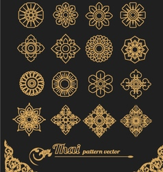 set of thai ornament design and icon flower vector image