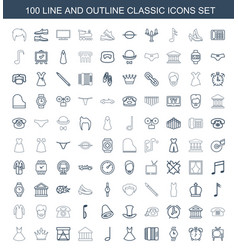 100 classic icons vector image