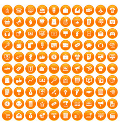 100 internet marketing icons set orange vector image