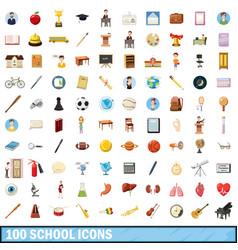 100 school icons set cartoon style vector