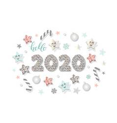 2020 new year template christmas cute decorative vector image