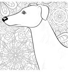 Adult coloring bookpage a cute dog on the vector