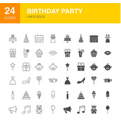 birthday party line web glyph icons vector image