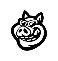 black and white pig used for logos and other vector image